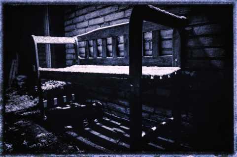snowy bench...